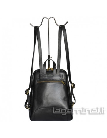Leather backpack ITALY KN49 BK