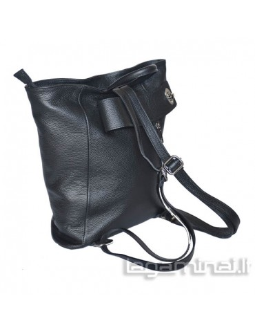 Leather backpack KN69 BK
