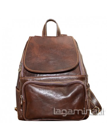 Leather backpack ITALY KN86 BN